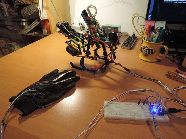 Diy arduino robot hand controlled using a glove robotic