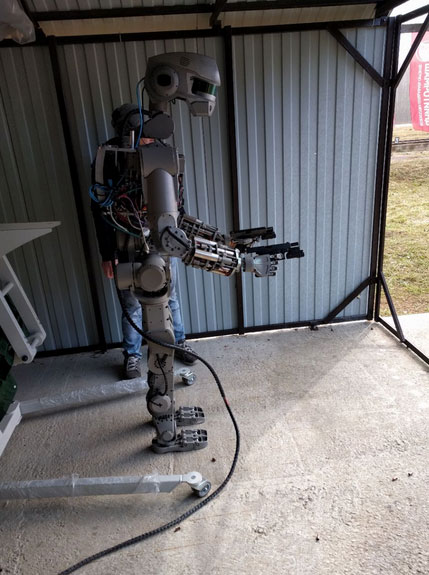 fedor humanoid robot learns to shoot robotic gizmos